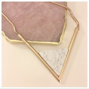 Triangle V shape arrow faux marble necklace gold